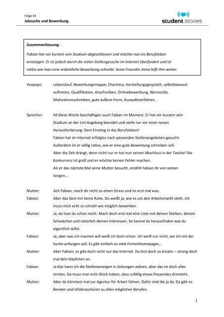 1 Jobsuche Und Bewerbung Zusammenfassung Studentstories