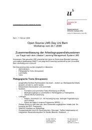Open Source LMS Day Uni Bern Zusammenfassung der ...