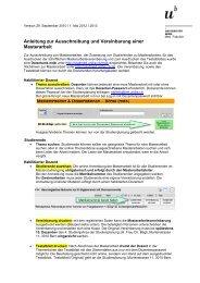 Anleitung zur Ausschreibung und Vereinbarung einer Masterarbeit