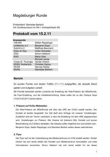 Magdeburger Runde Protokoll vom 15.2.11 - Stura Wiki