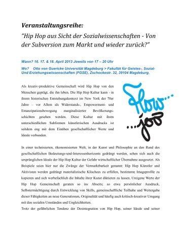 Veranstaltungsreihe: ?Hip Hop aus Sicht der Sozialwissenschaften ...