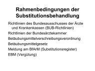 Rahmenbedingungen der Substitutionsbehandlung