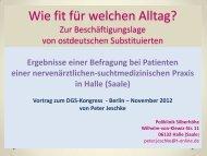 Umfrage bei Substituierten zur Beschäftigungslage - Ostdeutschen ...