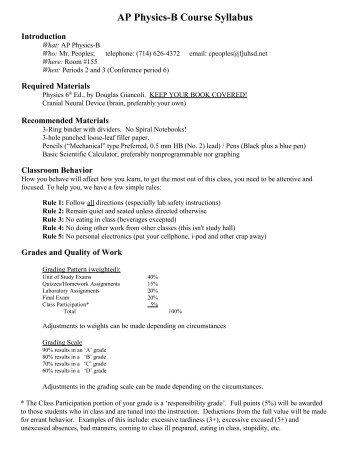 IB/Honors Physics Course Syllabus - Sunny Hills High School