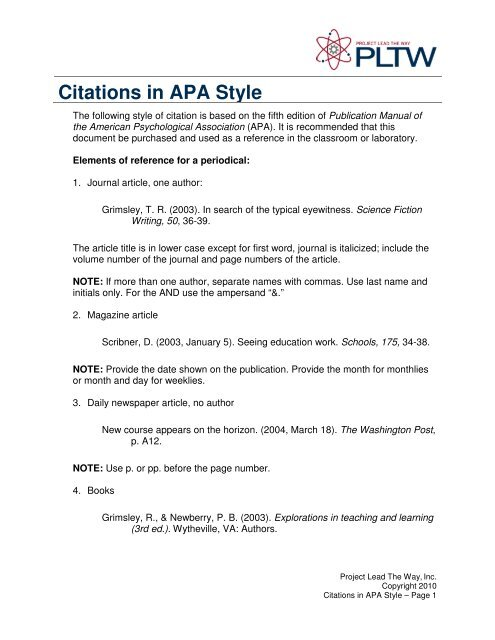 Citations In Apa Style Sunny Hills High School