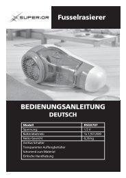 BEDIENUNGSANLEITUNG Fusselrasierer - Superior
