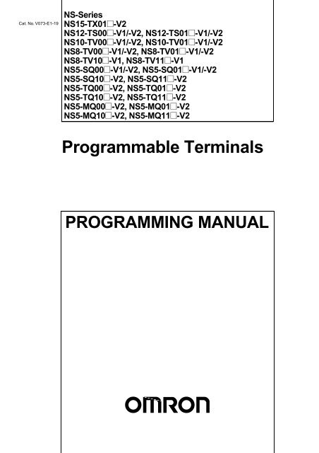 NS-Series Programmable Terminals Programming Manual - Omron