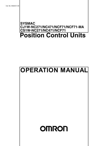 OPERATION MANUAL Position Control Units