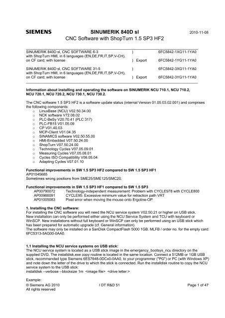 SINUMERIK 840D sl CNC Software with ShopTurn 1 5 SP3 HF2