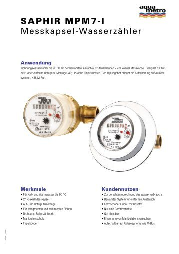 SAPHIR MPM7-I Messkapsel-Wasserzähler - Aquametro AG