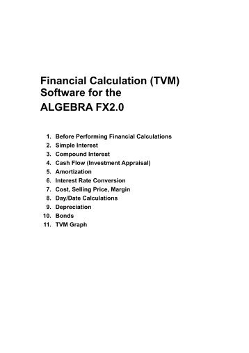 Financial Calculation (TVM) Software for the ALGEBRA FX2.0 - Casio