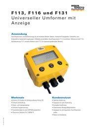 F113, F116 und F131 Universeller Umformer mit ... - Aquametro AG