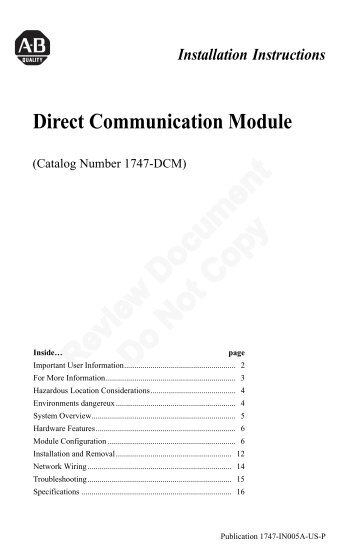 1747-IN005A-US-P, Direct Communication Module, Installation ...