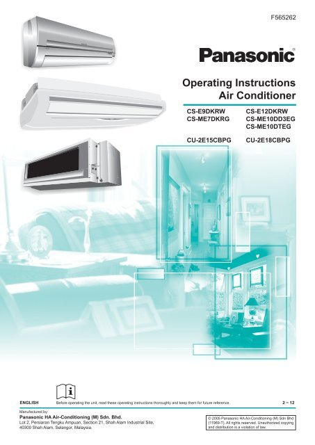 Operating Instructions Air Conditioner Panasonic New Zealand