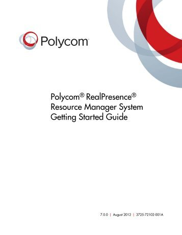 Polycom RealPresence Resource Manager System Getting Started ...
