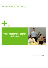HP ProLiant Small Office Solution FAQ : Intégrer des clients Macintosh