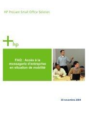 Accès à la messagerie HP ProLiant Small Office Solution FAQ ...