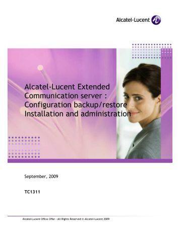 Alcatel lucent omnipcx Enterprise administration manual