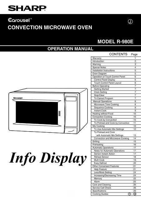 Convection Microwave Oven Sharp