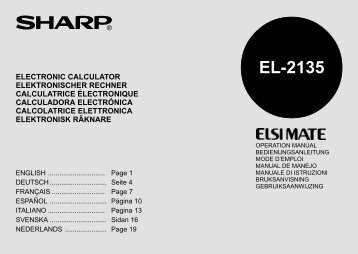 Sharp el 506w manuale italiano