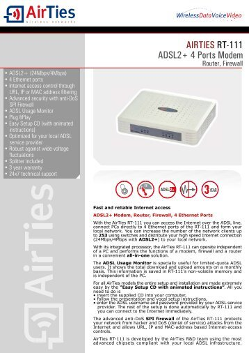 AIRTIES RT-111 DOWNLOAD DRIVER