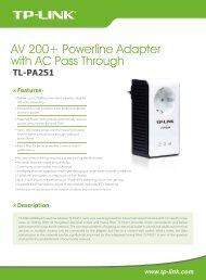 AV 200+ Powerline Adapter with AC Pass Through - Distriwan