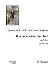 SpectraLink 8020/8030 Wireless Telephone - Polycom Support