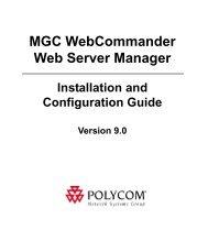 MGC WebCommander Web Server Manager - Polycom Support