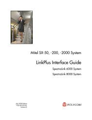 LinkPlus Interface Guide: Mitel SX-50, -200, -2000 - Polycom Support