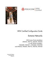 Extreme Networks WLAN controllers WM3400 ... - Polycom Support