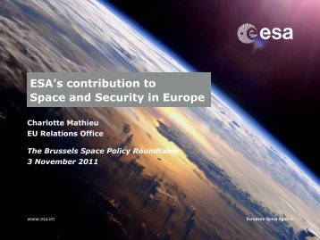 "Charlotte Mathieu, ""ESA's contribution to Space and Security in ..."