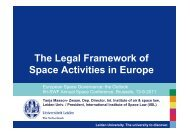 The Legal Framework of Space Activities in Europe