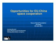 Opportunities for EU-China space cooperation - Secure World ...