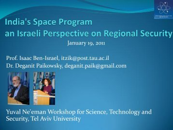 India's Space Program – An Israeli Perspective on Regional Security