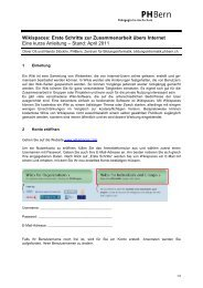 Wikispaces: Erste Schritte zur Zusammenarbeit übers ... - SwissEduc