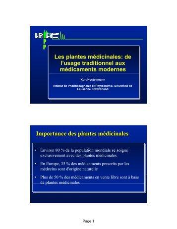 Importance des plantes médicinales - SwissEduc