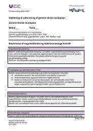 Vejledning til udformning af generel klinisk studieplan Generel ...