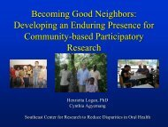 Developing an enduring presence for community-based ...