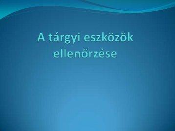 A tárgyi eszközök ellenőrzése - Sokoldal.hu