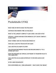 PocketStudio 5 FAQ - 65.9 KB | ps5_faq.pdf - Tascam