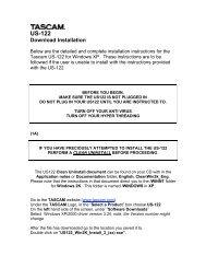 Download Installation - Tascam