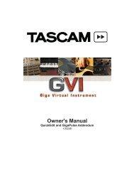 GVI Installation and Use: QuickEdit & GigaPulse Addendum - Tascam