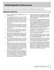 GigaStudio 3 Updates v. 3.04 Known Issues - Tascam