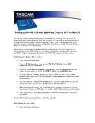 US-428 Application-Specific Documentation Cubase VST ... - Tascam