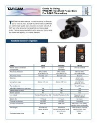 Recording Guide for Filmmakers and DSLR Cameras ... - Tascam