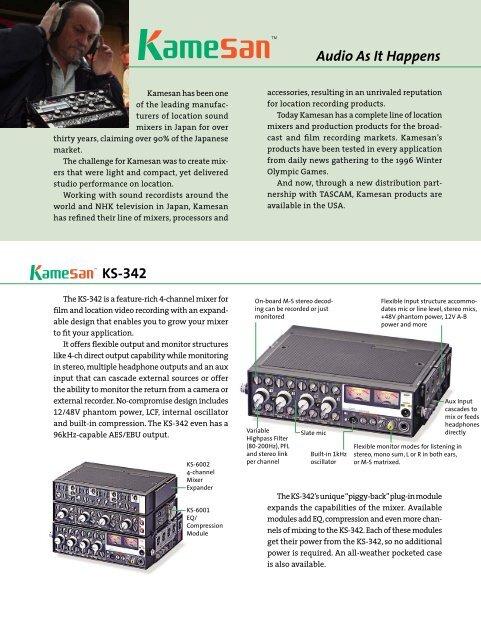 Kamesan Product Brochure - 366.33 KB ... - Tascam