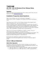 US-122L & US-144 Windows Drivers v. 1.10 Release - Tascam