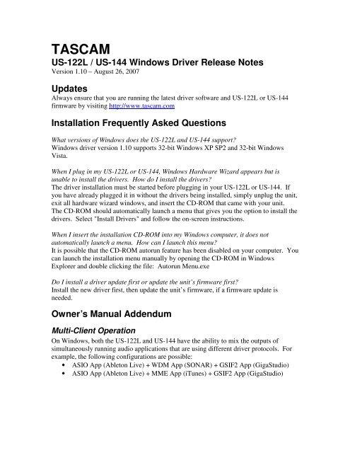 US-122L & US-144 Windows Drivers v  1 10 Release - Tascam