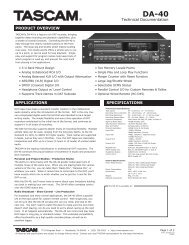 Technical Documentation PRODUCT OVERVIEW ... - Tascam