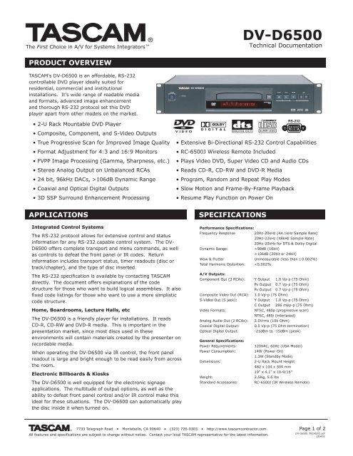DV-D6500 Technical Documentation - 1.99 MB - Tascam